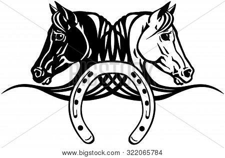 Decorative Heads Of Black And White Horses In Profile With Horseshoe. Logo, Icon, Emblem, Tattoo Sty