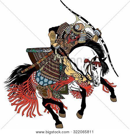 Japanese Samurai Horse Rider Dressed In Full Leather Armor, Helmet And War Mask. East Asia Archer Ho