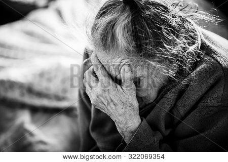 Very Old Woman Closeup Portrait.