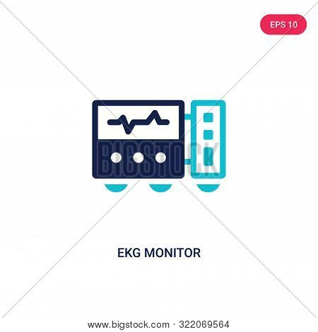ekg monitor icon in two color design style.