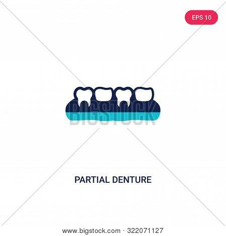 partial denture icon in two color design style.