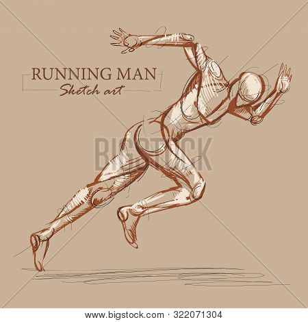 Brown Toned Modern Stylised Sketch Of A Running Athletic Man With A Muscular Body Sprinting At Speed
