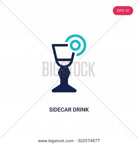 sidecar drink icon in two color design style.