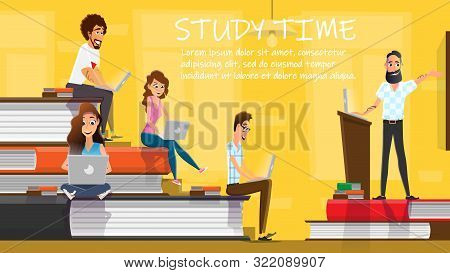 Study Time Concept Flat Cartoon Banner Vector Illustration. Students On Book Piles. Happy Young Peop