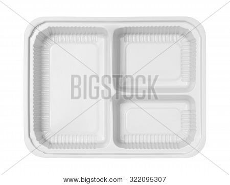 Plastic Lunch Box Three Compartment Separated Top View (with Clipping Path) Isolated On White Backgr