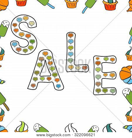 Seamless. Vector. Illustration In White, Black And Green Colors. Simple Patches, Poster, Badges In C