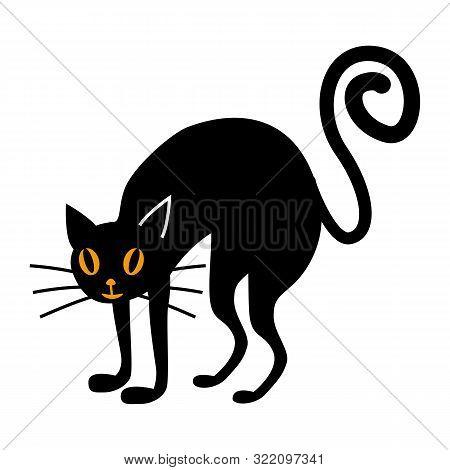 Halloween Black Cat Flat Single Icon. Halloween Symbol Of Fear And Danger. Black Spooky Decorative E