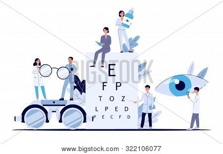 Eye Doctor Banner - Flat Cartoon Poster Of Optometrist And Ophthalmologist Staff