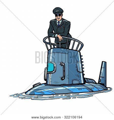 Captain Of A Submarine. Army Naval Ship. Pop Art Retro Vector Illustration Drawing