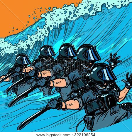 Riot Police Resist The Wave. The Concept Of Inevitability Of Democratic Changes In Authoritarian And