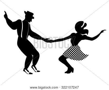 Swing Dance Negative Couple Silhouette. Black And White Colors. 1940s And 1930s Style. Woman In Skir