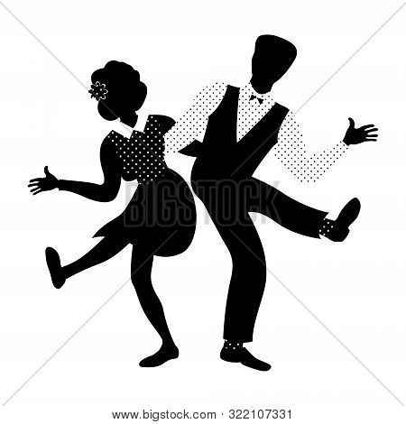 Couple Of People Dancing Charleston. 1940s And 1950s Style. Flat Vector Illustration In Black And Wh