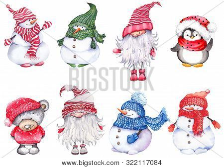 Set Of Christmas Cartoon Characters, Wearing Knitted Hats, Scarves And Mittens. Cute Snowmen, Teddy