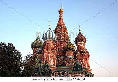 Moscow Red Square / Russia - September 10 2019 : Saint Basil Cathedral, One Of The Most Recognizable