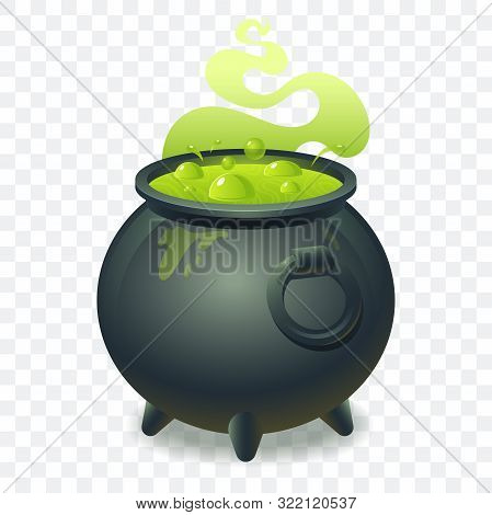 Witch Cauldron With Bubbling Green Liquid Isolated On Transparent Background. Magic Potion. Symbol O