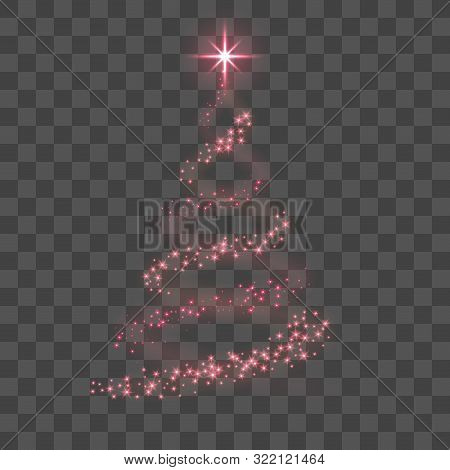Stylized Red Christmas Tree As Symbol Of Happy New Year Holiday Or Merry Christmas Celebration. Brig