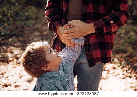 Parental Support. Help Kid Explore World. Dad Hold Hand Of Little Boy. Manly Father Upbringing Littl