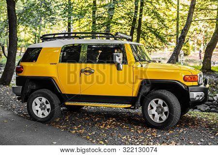 Turia Paseka, Ukraine - September 14, 2019: Toyota Fj Cruiser In The Forest, In Turia Paseka, Ukrain