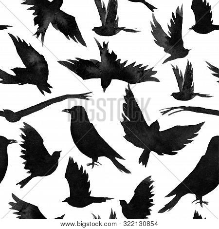 Many Black Birds, Forest Seamless Pattern, Monochrome Watercolor Illustration, Hand Drawing