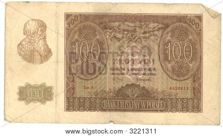 High-Resolution Picture Of Very Old Polish Banknote (1940)