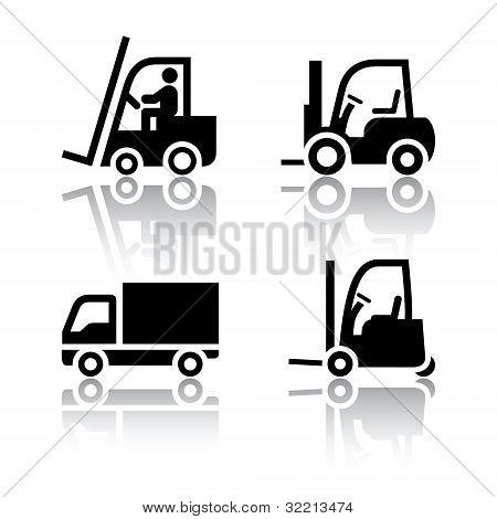 Set of transport icons - loader, vector design element poster