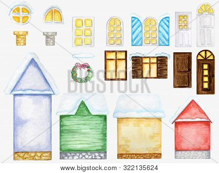 Cute Cartoon Winter House, Dark And White Wooden Windows, Doors, Christmas Decorations Constructor O