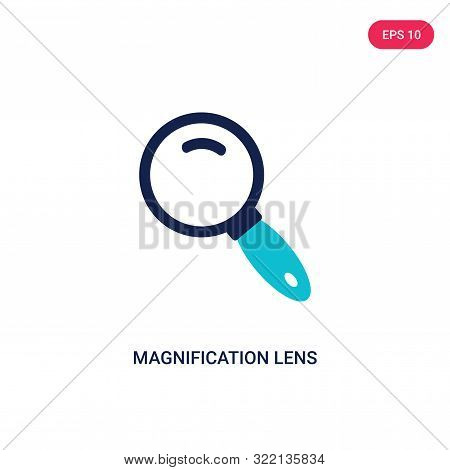 magnification lens icon in two color design style.