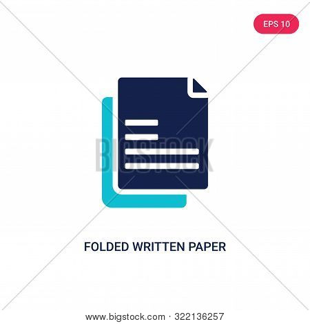 folded written paper icon in two color design style.