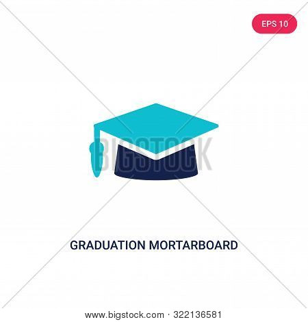 graduation mortarboard icon in two color design style.