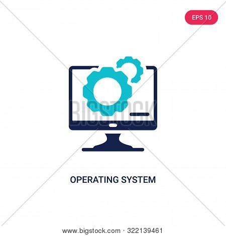 operating system icon in two color design style. poster