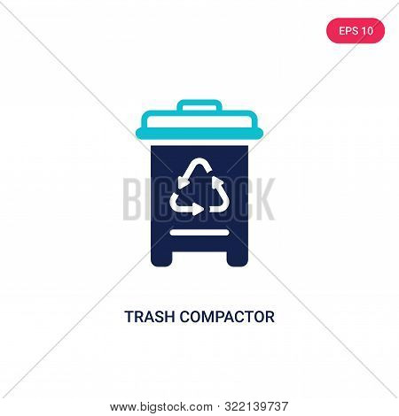 trash compactor icon in two color design style.