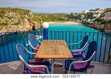 Cala En Porter Menorca Spain 1. September 2019: View From The Bar Restaurant Menorca Club On The Bea