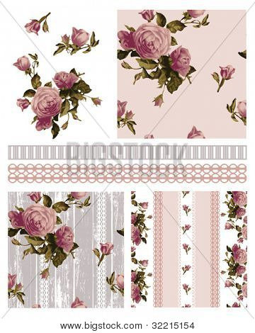 Pretty Victorian Vector Rose Shabby Chic seamless patterns and icons.  Use to create stunning craft or textile projects. Ideal as patchwork pieces for quilts or Digital paper.
