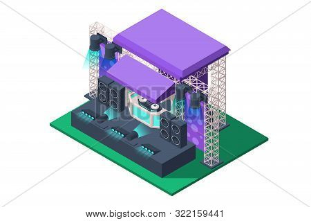 3d Isometric Concert Stage Of Spotlights, Acoustic Speakers, Music Equipment. Isolated Concept Publi