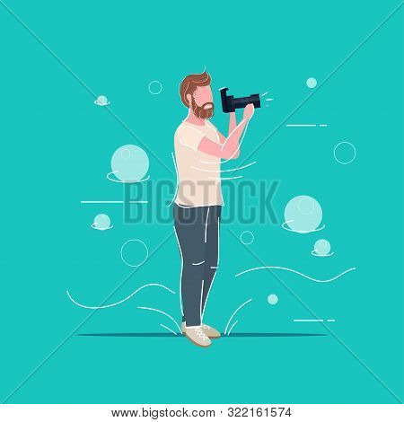 Professional Photographer Taking Picture Photo Man Traveler Shooting With Digital Dslr Camera Male C