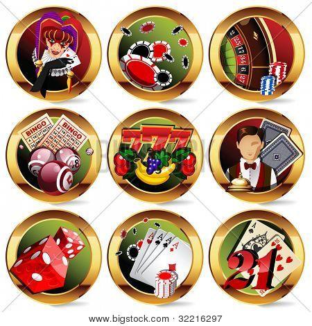 eps8 vector casino or gambling icons set.