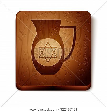 Brown Decanter With Star Of David Icon Isolated On White Background. Pottery Jug. Organic Product In