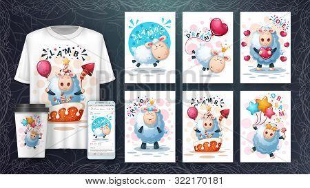 Cute, Crazy Lamb Poster And Merchandising. Vector Eps 10
