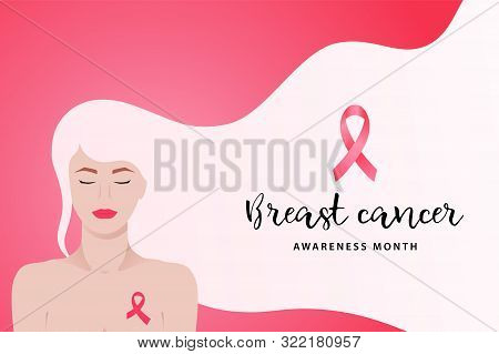 Breast Cancer Awareness Month Banner With Young Woman And Pink Ribbon. Medical Concept Of Prevention