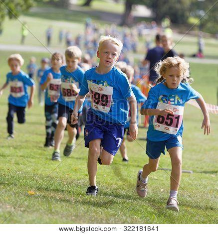 Stockholm - Sept 08, 2019: Kids Running During The Generation Pep Day In Hagaparken, To Make Kids Be