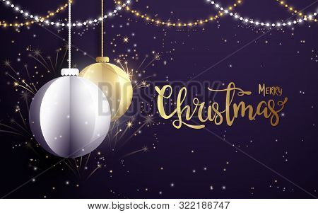 Merry Christmas And Happy New Year Banner.white And Golden Christmas Balls With Xmas Sparkling Light