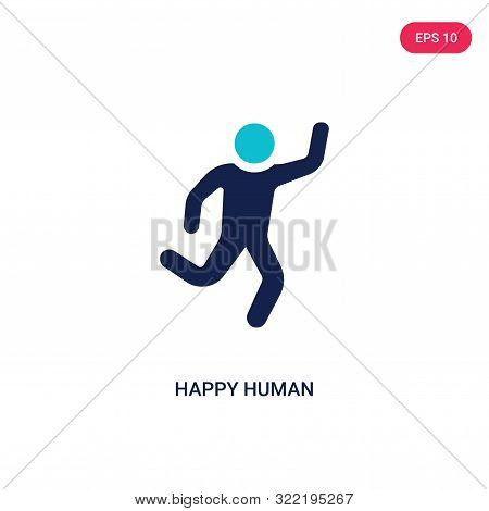 Happy Human Icon In Two Color Design Style. Happy Human Vector Icon Modern And Trendy Flat Symbol Fo