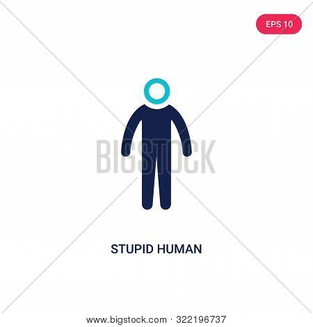 stupid human icon in two color design style.