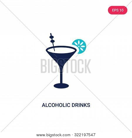 alcoholic drinks icon in two color design style.