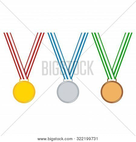 Cartoon Style Champion Medal Set Isolated On White Background Golden, Silver, Bronze Medal With Stri