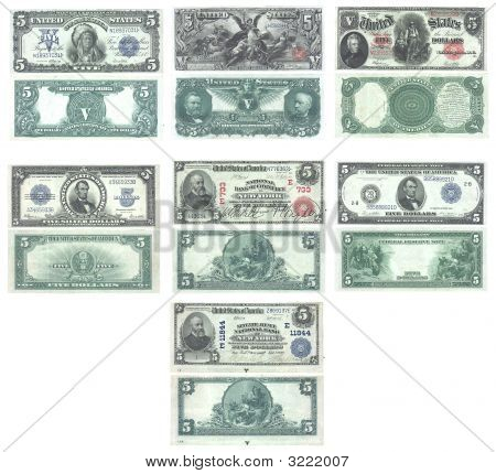 Set Of Old And Rare United States 5 Dollar Banknotes