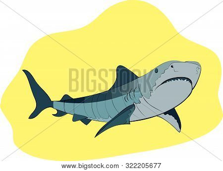 Toothy Shark Swimming On Yellow Background, Vector Illustration