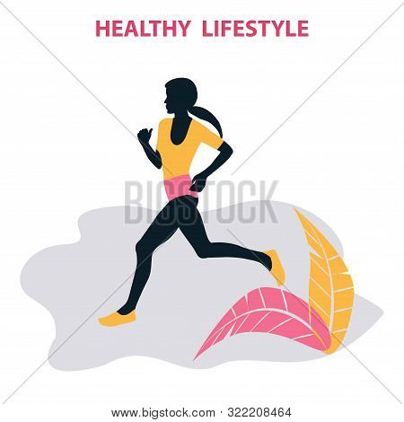 Woman Sports Runner - Abstract Element, Leaves - Isolated On White Background - Vector. Fitness Exer