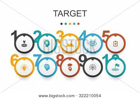Target Infographic Design Template. Big Idea, Task, Goal, Patience Icons