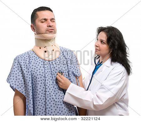 Female doctor examining patient suffering neck ache
